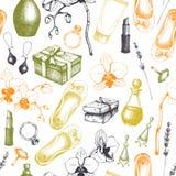 Bezszwowy wzór z ręki rysować zdroju i piękna ilustracjami Wektoru zaproszenia lub karty projekt Kosmetyki i aromatyczny składnik ilustracji