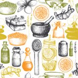 Bezszwowy wzór z ręki rysować zdroju i piękna ilustracjami Wektoru zaproszenia lub karty projekt Kosmetyki i aromatyczny składnik royalty ilustracja