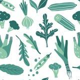 Bezszwowy wzór z ręki rysującymi kolorowymi doodle zieleni warzywami royalty ilustracja