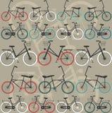 Bezszwowy wzór z retro bicyklami Zdjęcia Stock