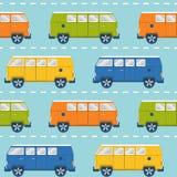 Bezszwowy wzór z retro furgonetkami Zdjęcia Stock