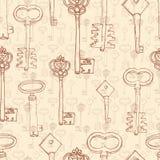 Bezszwowy wzór z retro kluczami Zdjęcie Stock