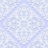 Bezszwowy wzór z roczników ornamentami z kędziorami Biały kwiecisty wzór na błękitnym tle ilustracja wektor