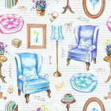 Bezszwowy wzór z roczników przedmiotami i meble Zdjęcie Royalty Free