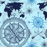 Bezszwowy wzór z rocznika kompasem, światową mapą i wiatrem, wzrastał Obrazy Stock