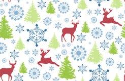 Bezszwowy wzór z rogaczem, choinką i płatkiem śniegu dla zima wakacji projekta, Obraz Stock