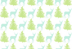 Bezszwowy wzór z rogaczem i drzewem dla zima wakacji projekta Obrazy Royalty Free