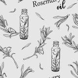 Bezszwowy wzór z rozmarynową nafcianą butelką i rozmarynami rozgałęzia się ilustracji