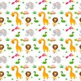 Bezszwowy wzór z rysunkami zwierzęta, dziecka ` s temat z dzikimi zwierzętami royalty ilustracja