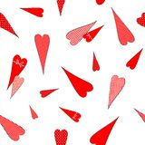 Bezszwowy wzór z rysunkiem doodles serca w grochach paskował klatki Dekoracyjnego romantycznego tło dla walentynka dnia ślubu ilustracji