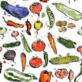 Bezszwowy wzór z rysunkowymi warzywami Obrazy Stock
