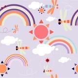 Bezszwowy wzór z słońcem w niebie z chmurami Obrazy Royalty Free