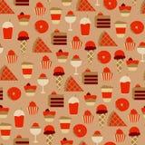 Bezszwowy wzór z Słodkimi Karmowymi ikonami Zdjęcia Royalty Free