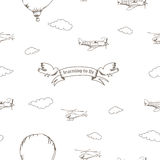 Bezszwowy wzór z samolotami, ptakami i chmurami, Obrazy Stock