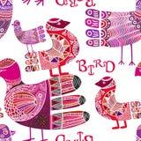 Bezszwowy wzór z scandinavian ozdobnym boho stylu ptakiem Zdjęcie Royalty Free