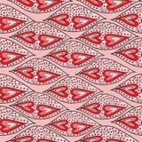Bezszwowy wzór z sercami i abstrakcjonistycznym ornamentem Obrazy Stock