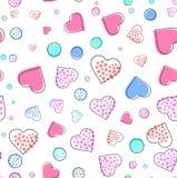 Bezszwowy wzór z sercami i okręgami dla walentynka dnia również zwrócić corel ilustracji wektora ilustracji