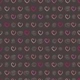 Bezszwowy wzór z sercami i okręgami również zwrócić corel ilustracji wektora Obraz Royalty Free
