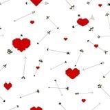 Bezszwowy wzór z sercami i strzała fotografia stock