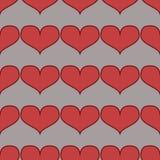 Bezszwowy wzór z sercami na czarnym tle Fotografia Stock