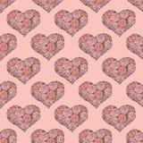 Bezszwowy wzór z sercami robić czerwieni róża Obrazy Royalty Free