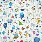 Bezszwowy wzór z setem różne szkolne rzeczy Doodle bezszwowy tło z szkolnymi ikonami Zdjęcia Stock