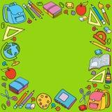 Bezszwowy wzór z setem różne szkolne rzeczy Zdjęcie Royalty Free