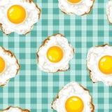 Bezszwowy wzór z smażącymi jajkami Zdjęcia Royalty Free