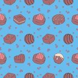 Bezszwowy wzór z smakowitymi przyglądającymi czekoladowymi pralines na jaskrawym błękitnym tle ilustracja wektor