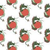 Bezszwowy wzór z smokami na białym tle ()- Wektor kartoteka Zdjęcia Royalty Free