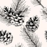 Bezszwowy wzór z sosen gałąź i rożkami ilustracji