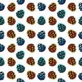 Bezszwowy wzór z sosnowymi rożkami Fotografia Stock