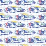 Bezszwowy wzór z sportowym samochodem Szkolny deseniowy rysunek w notatniku royalty ilustracja