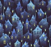 Bezszwowy wzór z starym miastem w nocy Koślawi domy z zaświecającymi lampionami i okno malowali w akwareli ilustracja wektor