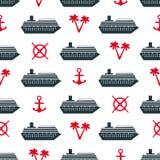 Bezszwowy wzór z statkami, kotwicami, drzewkami palmowymi i kołami, Obrazy Stock