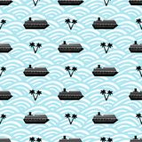 Bezszwowy wzór z statkami, kotwicami, drzewkami palmowymi i kołem czerni, Fotografia Stock