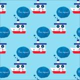 Bezszwowy wzór z steamship Tekst w francuskich bon podróży sposobach dobrą wycieczkę Zdjęcia Royalty Free