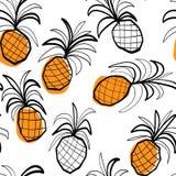 Bezszwowy wzór z stilized ananasami Zdjęcia Stock