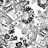 Bezszwowy wzór z strzała puszka doodle i ładunku potworami Obraz Stock