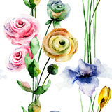 Bezszwowy wzór z stylizowanymi dzikimi kwiatami ilustracja wektor