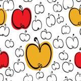 Bezszwowy wzór z stylizowanymi jabłkami Fotografia Stock