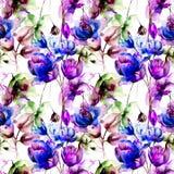 Bezszwowy wzór z Stylizowanymi kwiatami ilustracji