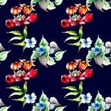 Bezszwowy wzór z Stylizowanymi kwiatami royalty ilustracja