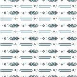 Bezszwowy wzór z stylizowanymi liniowymi piórkami Obraz Royalty Free