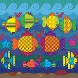 Bezszwowy wzór z stylizuje ryba ilustracja wektor