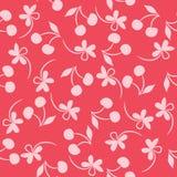 Bezszwowy wzór z sylwetka kwiatami i wiśniami Obraz Stock