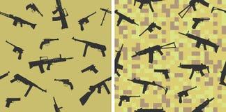 Bezszwowy wzór z sylwetkami bronie strzeleckie royalty ilustracja