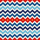 Bezszwowy wzór z symmetric geometrycznym ornamentem Szewronów kolorów horyzontalnych linii abstrakta zygzakowaty jaskrawy tło Zdjęcie Royalty Free