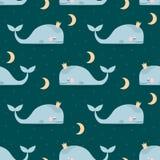 Bezszwowy wzór z sypialnymi wielorybami, księżyc & gwiazdami, Wektorowa ilustracja z ptakami i kwiatami Zdjęcia Stock