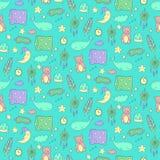 Bezszwowy wzór z sypialnymi wielorybami, poduszkami, gwiazdami, etc, Zdjęcie Stock